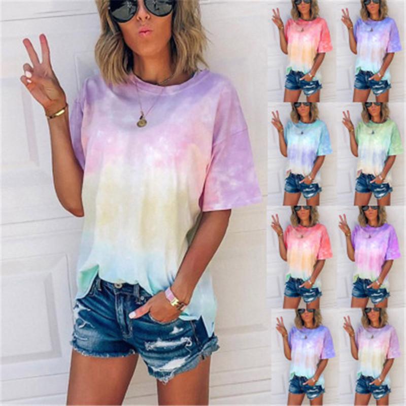 Summer Tie Dye Футболки женские тенденции моды Градиент с коротким рукавом Круглый шеи Tee Дизайнер Новая женская Сыпучие Повседневный Top Tshirt