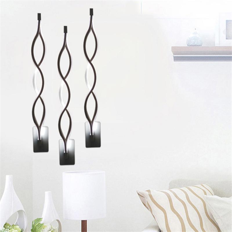Стена + Лампы LED Алюминий волна Бра Спальня Aisle Гостиная TV Фоновая LED Lampara Домашнее украшение креативного освещения