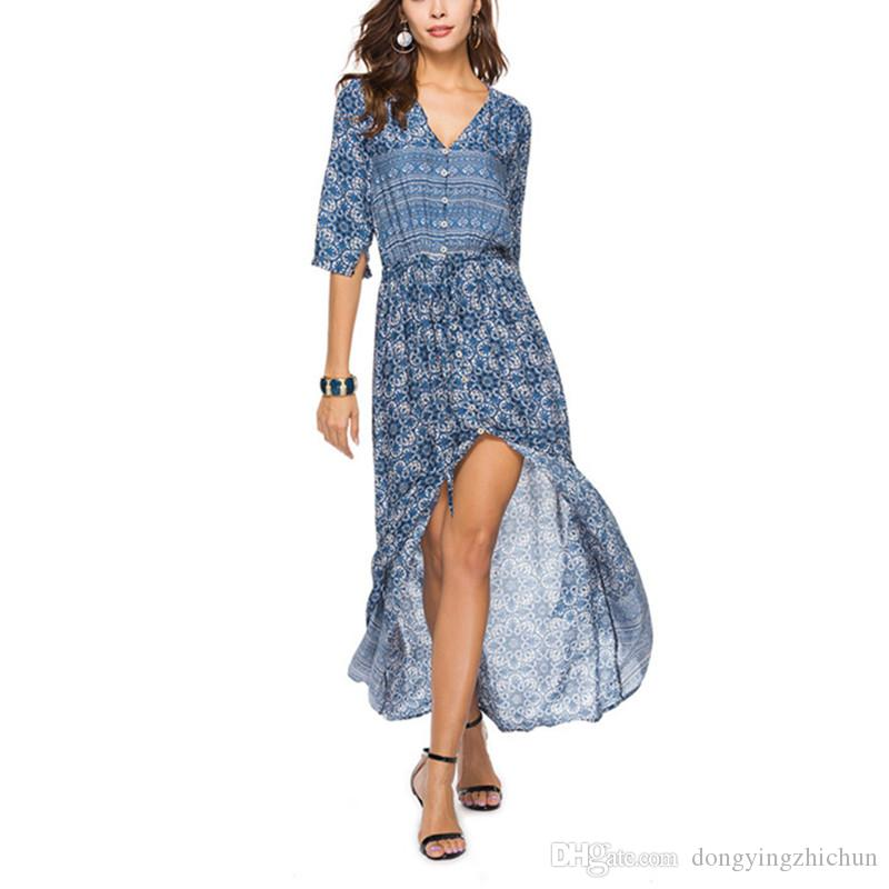 Europe and the United States cross-border foreign trade women's hot sale bohemian printing new V-neck waist dress beach skirt