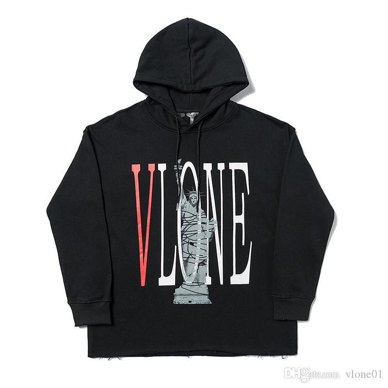 Vlone Mens Fashion Hoodie Mens-Qualitäts-Buchstabe-Druck T-Shirt Berühmte Männer Frauen Teenager bequemen Sweatshirt S-XL