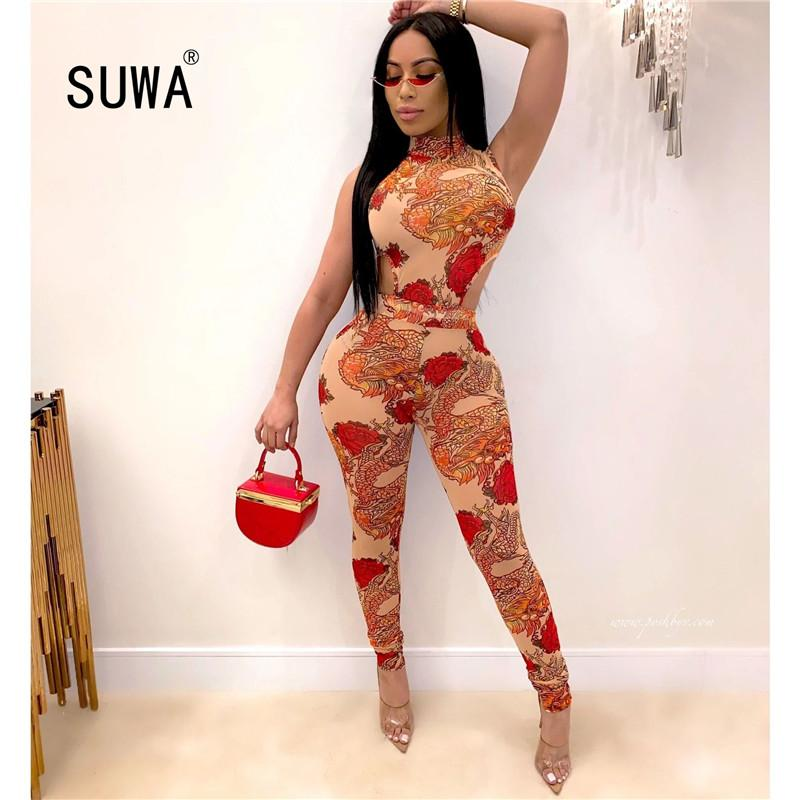 Floral Print Hollow-out Women's Slim Pencil Jumpsuit Stand Collar Sleeveless Romper Summer New Design Sexy Lady Casual Catsuit
