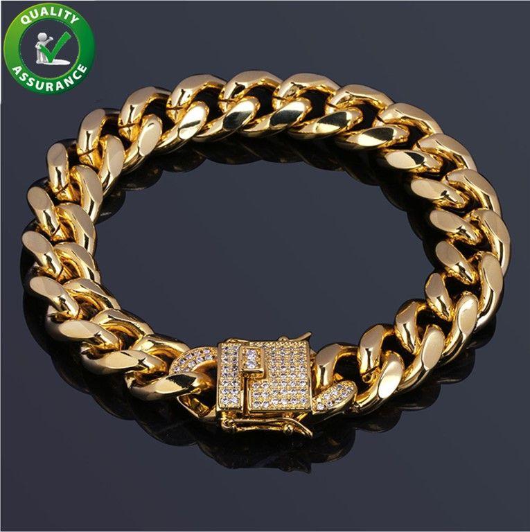 Męskie Bransoletki Hip Hop Biżuteria Luksus 18 K Pozłacane projektant Bransoletka Kubańska Łańcuch Diament Iced Out CZ Bangle Marka Pandora Styl Charms
