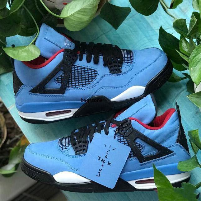 New Cactus Jack 4 4s Houston Chaussures de basket-308497S-406 Université Bleu Varsity Rouge Noir Hommes Sport Chaussures de sport avec la boîte