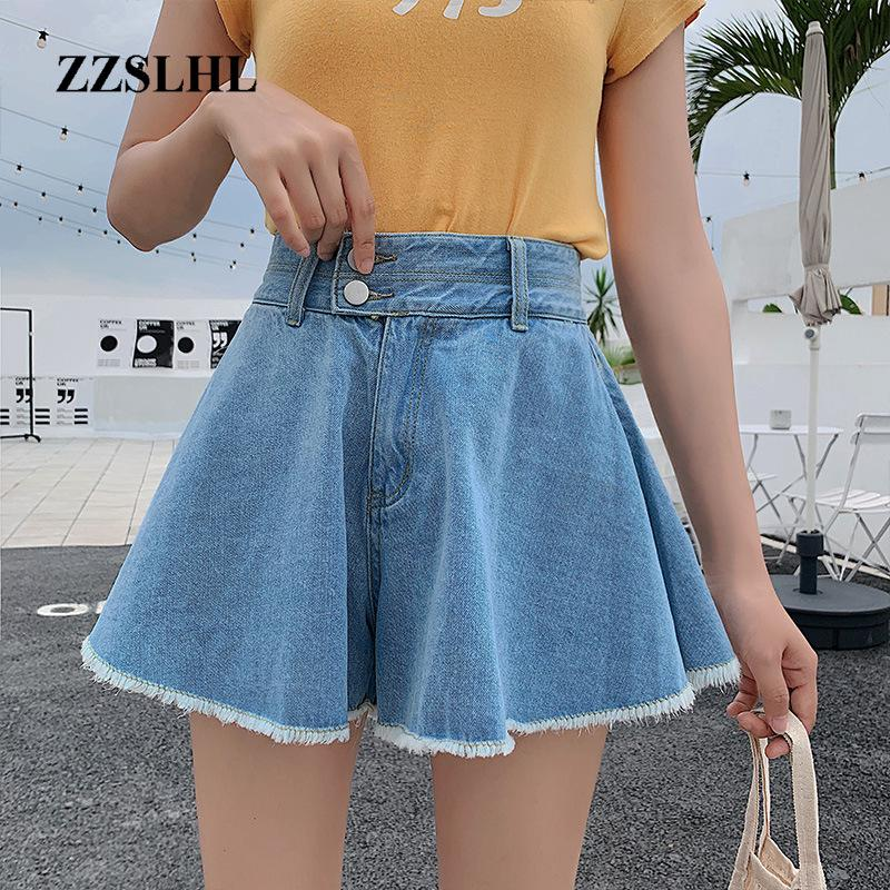 A gamba larga pantaloncini di jeans per le donne 2.020 vita alta Jean Shorts Donne denim bicchierini casuali delle donne coreane vestiti di estate