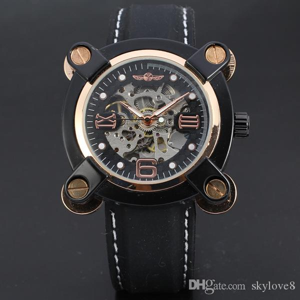 Бесплатные часы box luxury T-WINNER мужская новый список полые автоматические механические часы уникальный дизайн арабский цифровой римские цифровые часы