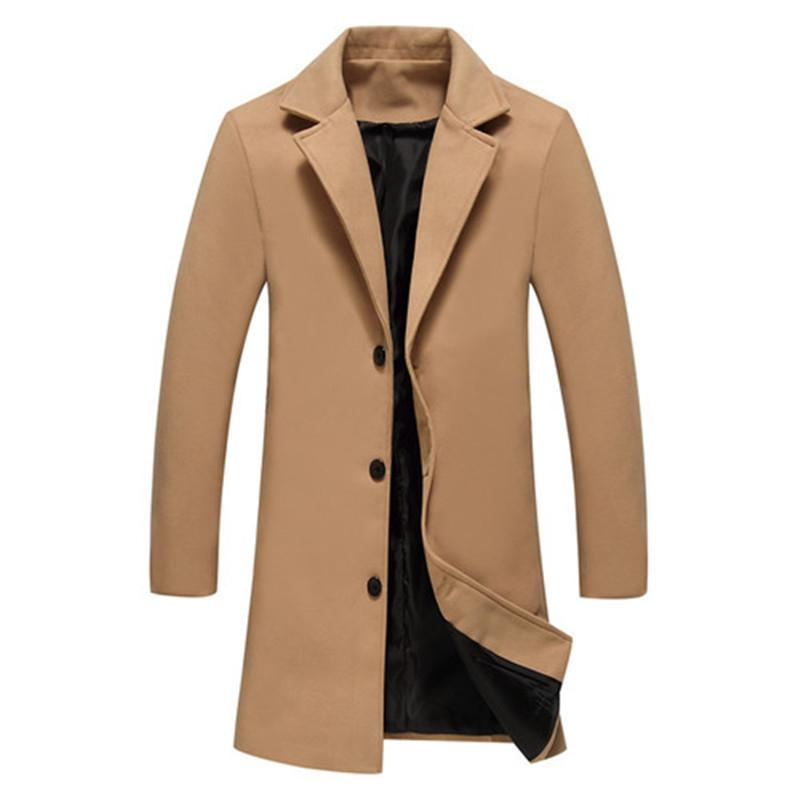 XMY3DWX Winter New Fashion Men Solid Color Single Breasted Trench Coat / Men Casual Slim Long Woolen Cloth Coat Large Size 5XL MX191118