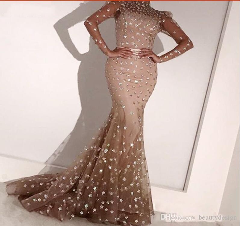 Abendkleider 2020 Élégant Tulle Bijoux Col De Sirène Robes De Soirée À Manches Longues Formal Arabe Femmes Robe Robe De Festa Longo