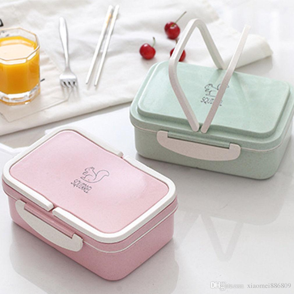 Eco-friendly Lunch Box Fashion Wheat Straw Microwave Bento Portable Lunch Box Food Container Storage Box Compartments Case