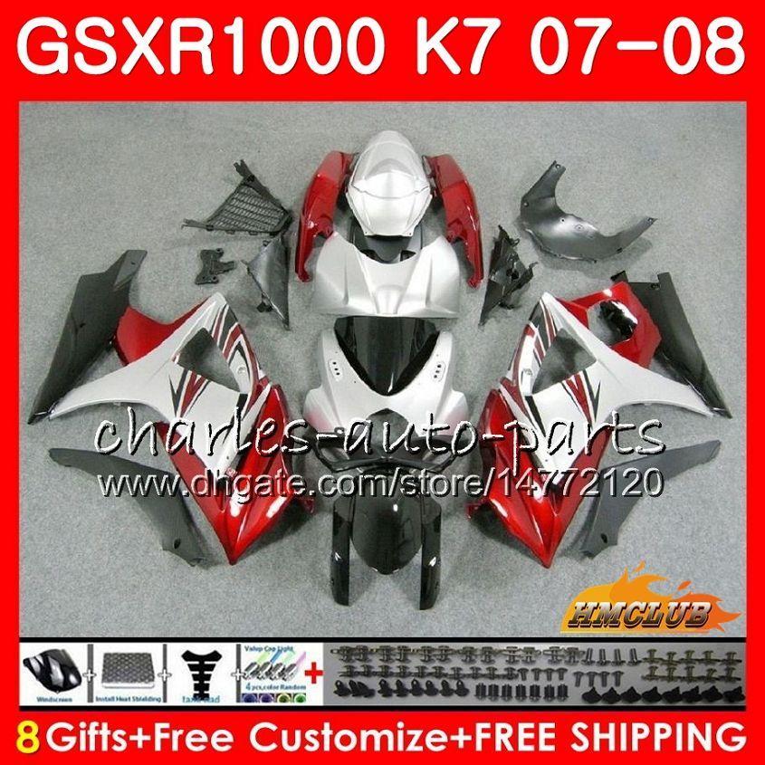 Bodywork pour Suzuki GSXR-1000 GSXR1000 2007 2008 07 08 Body à chaud argenté rouge 12HC.15 GSX R1000 GSX-R1000 K7 GSXR 1000 07 08 Kit de carénage ABS