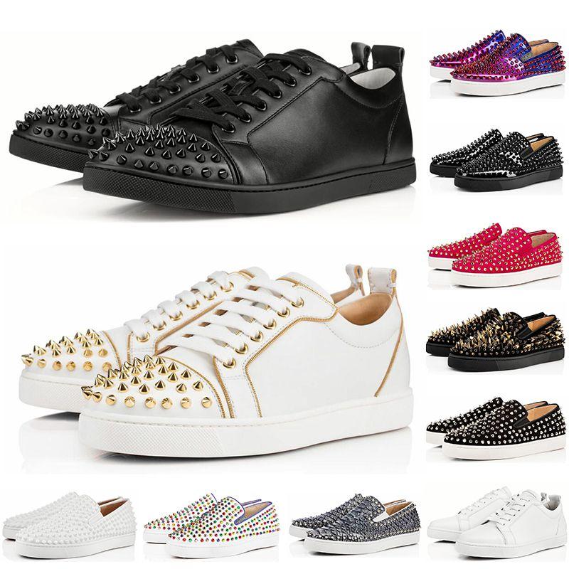 Christian Louboutin 2019 AAA diseñador de lujo zapatos de mujer bajo rojo inferior Nude negro rojo cuero punta estrecha bombas zapatillas de deporte casuales zapatos