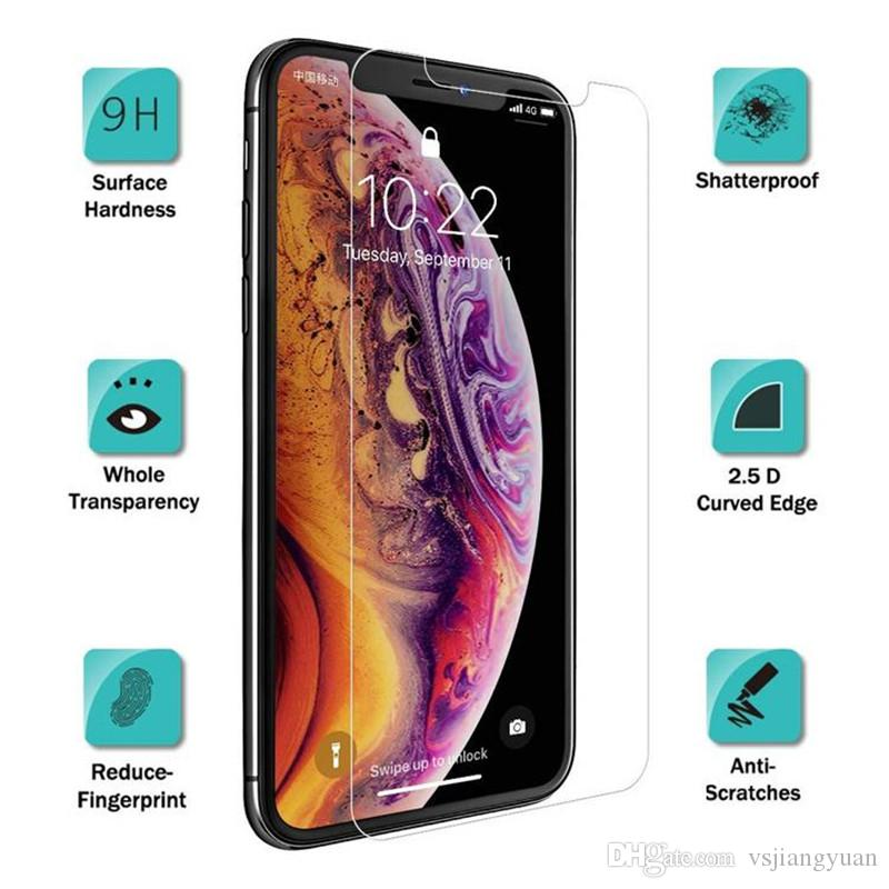 Высокое качество для Iphone XR XS MAX X Протектор экрана из закаленного стекла J3 J7 премьер LG HUAWEI Mate 20 X Alcatel 2.5D 9H бумажный пакет