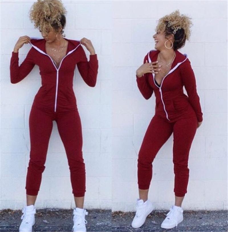Frühlings-Frauen feste Kapuze Jumpsuits reine Farben-Reißverschluss-Aktiv Weibliche Spielanzug nehmen sexy Damen-Bekleidung mit Taschen