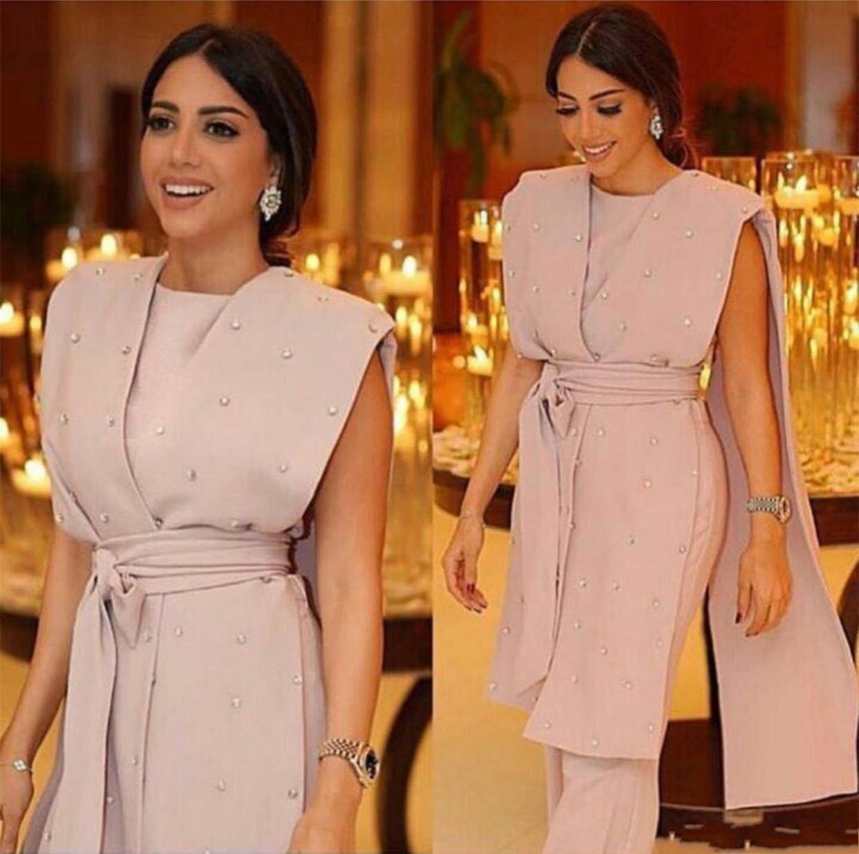 2018 Elegant Formal Dresses Evening Wear Cape Drapped Sashes Jumpsuit Belts Modern Crepe Suit Party Prom Gowns Robes de cocktail