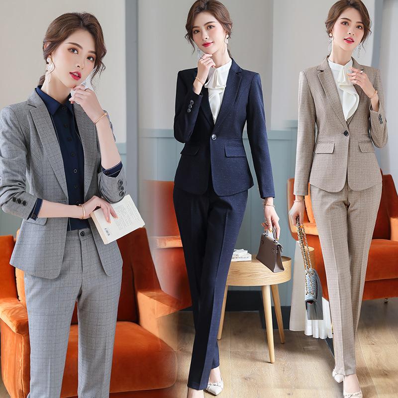 Compre 2020 Trajes De Tela Escocesa Negro Mujer Elegante Formal De La Oficina Senora De Las Mujeres De Las Bragas De Negocios Blazer Chaquetas Pantalones De Dos Piezas Set A 27 04