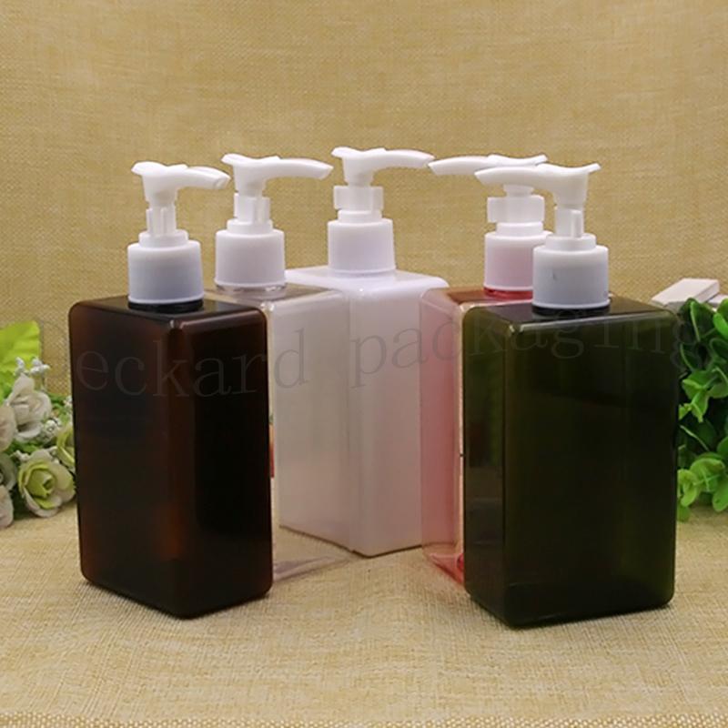 Нажмите завинчивающейся крышкой бутылки, 12шт 300мл Пластиковые Cosmetic Контейнер Empty Сыворотка Sub-розлив, образец шампунь бутылки, плоский Плечи