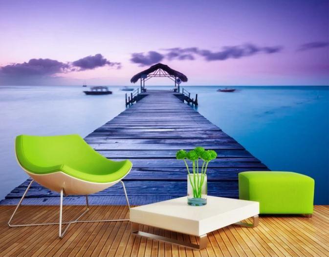 Maldivas paisaje marino mural de la pared de fondo 3D encargo de la foto del papel pintado de la pared de fondo de la pintura mural de la sala de estar Sofá TV del dormitorio del contexto
