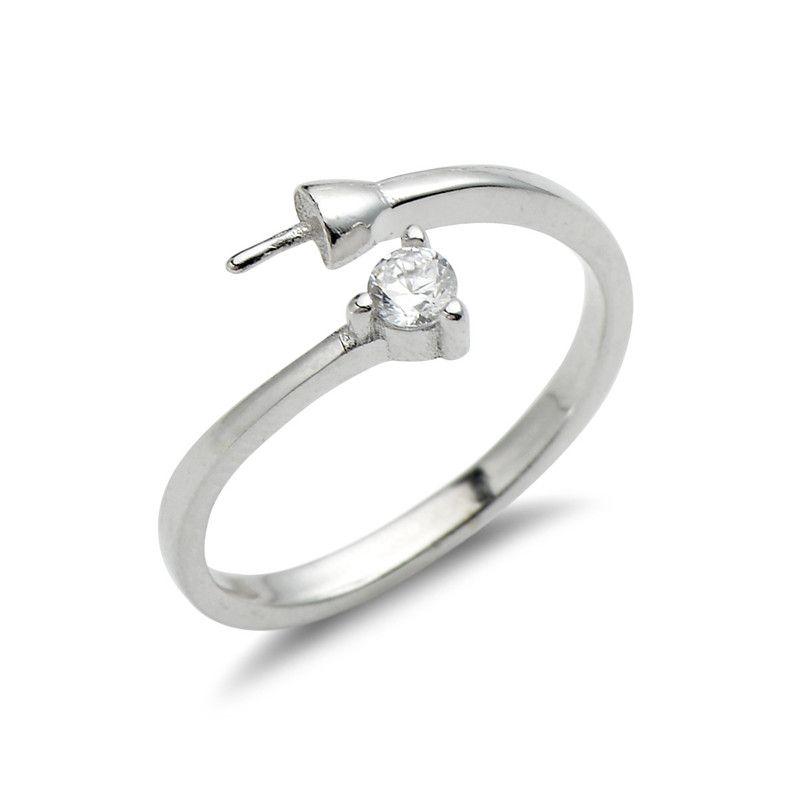 Простые заключения ювелирных изделий кольца Дизайн Циркон стерлингового серебра 925 Pearls DIY Изготовление турель 5 шт