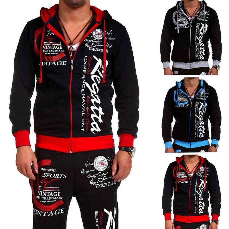 Uomo sportivo Set invernale Tuta uomini felpe con cappuccio Imposta uomini di marca S' 2 Pz spesso caldo felpa e vestito di pantaloni maschile formato S-2XL