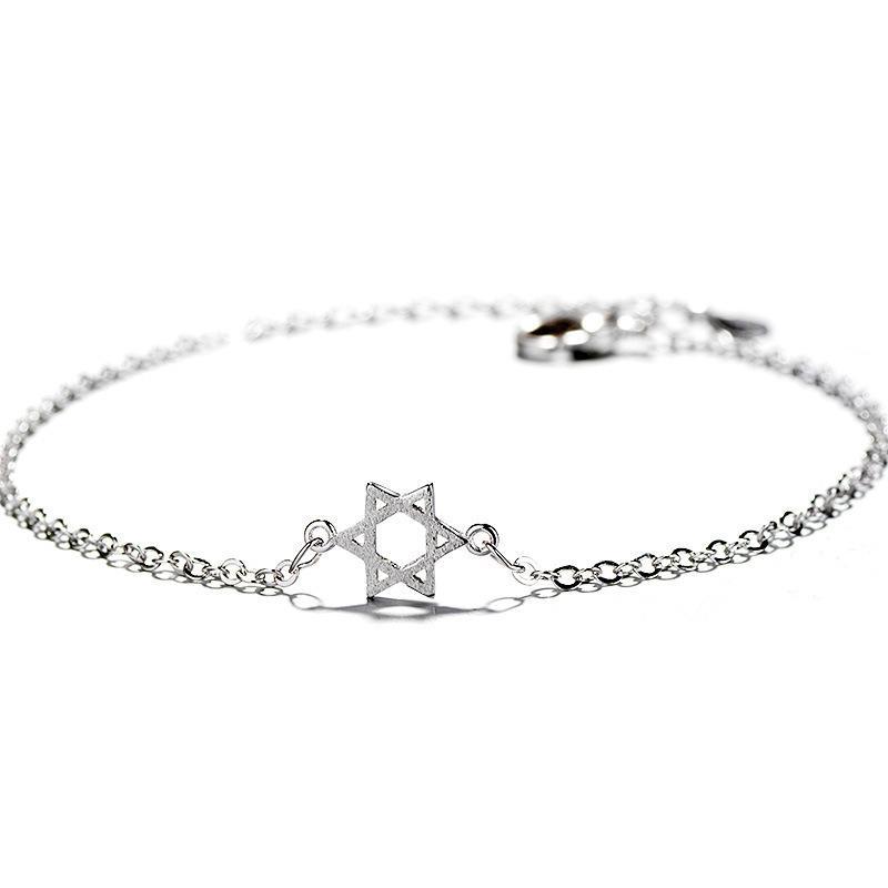 Tshou121 Étoile Six Étoiles Souhaitant Étoile Chanceux Bracelet Brossé Hexagone Étoile Main Ornement J 190430