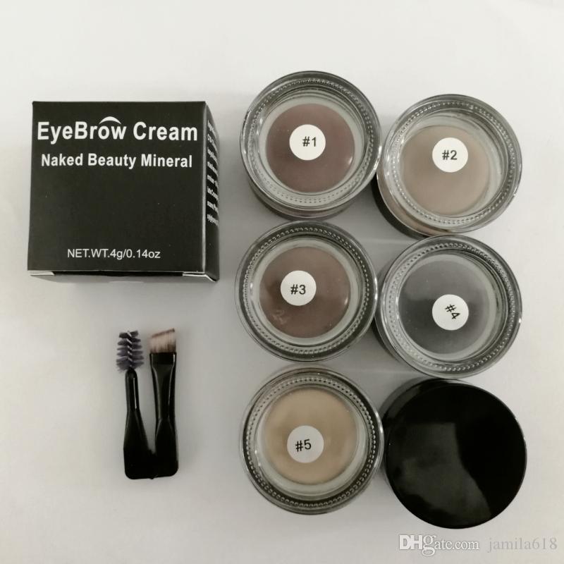 Wholesale No Logo Makeup Eye brows Waterproof 5 Color Eyebrow Pomade Cream High Pigmented Cosmetics Eyebrow Gel Cream with brush Beauty Tool