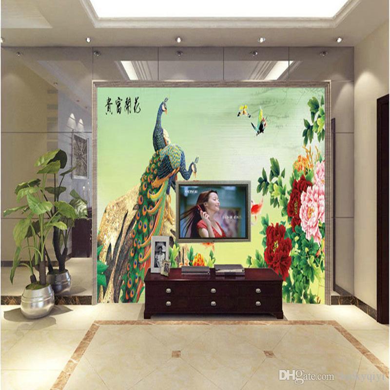 특별 중국어 홈 장식 풍경 모란 공작 회화 침실 소파 TV 배경 벽 벽지 꽃 열기 풍부한 배경 화면