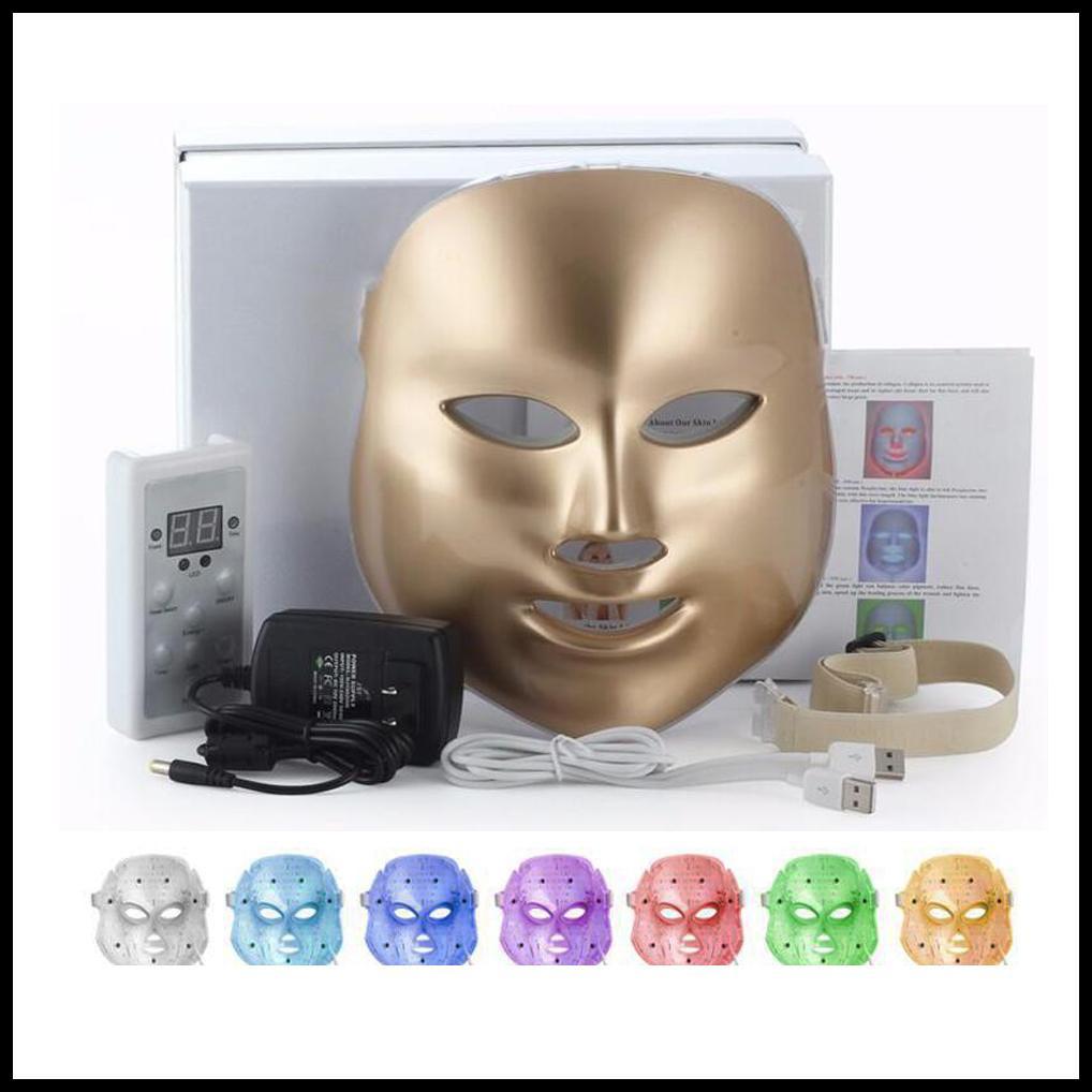 EPACK GOLD Gesundheit Schönheit 7 Farben beleuchtet LED-Photon PDT Gesichtsschablonen-Gesichtshautpflege Verjüngungstherapie Mobiles Gerät Home Use Foto Light