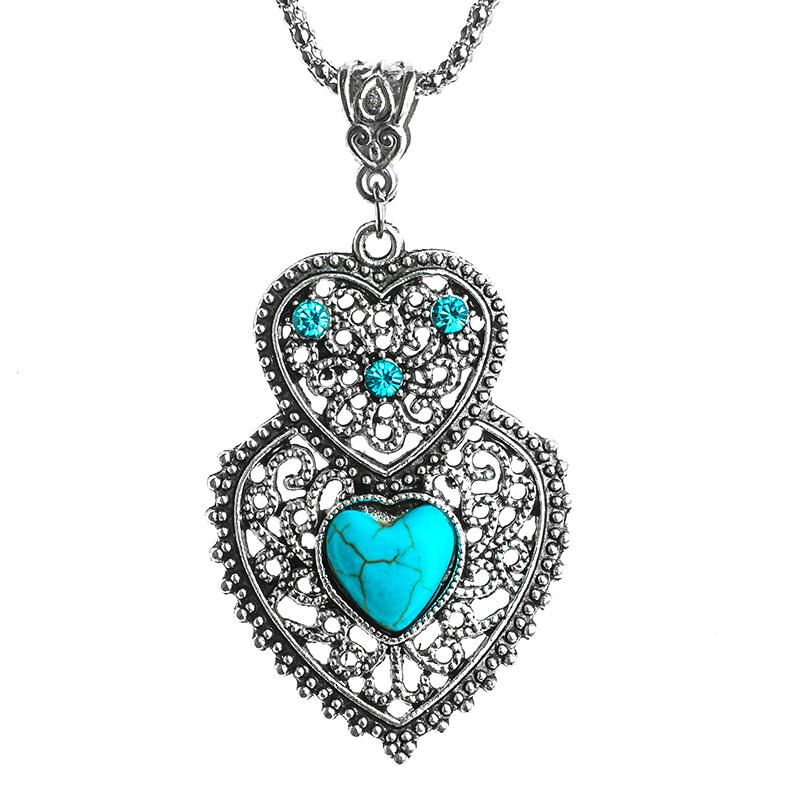 Bohemia stylish double heart shape elegant Natural Stone necklace for gift collares mujer
