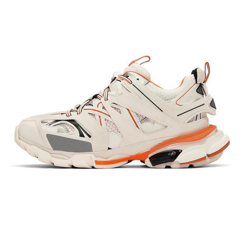 Diseñador de zapatos casuales Triple S Track 3.0 mujeres de la marca de los hombres Gris Naranja Amarillo Zapatos ocasionales de los deportes zapatillas de deporte de la plataforma para hombre Trek Formadores CS01