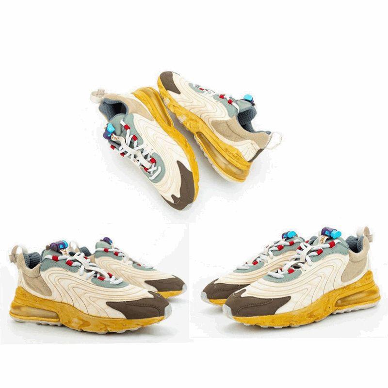 Da X Travis Scotts x Shoe 270 Reagir Luz creme escuro Avelã Mica Starfish CT2864-200 Sneakers calçados casuais autêntica Tamanho US 5,5-12