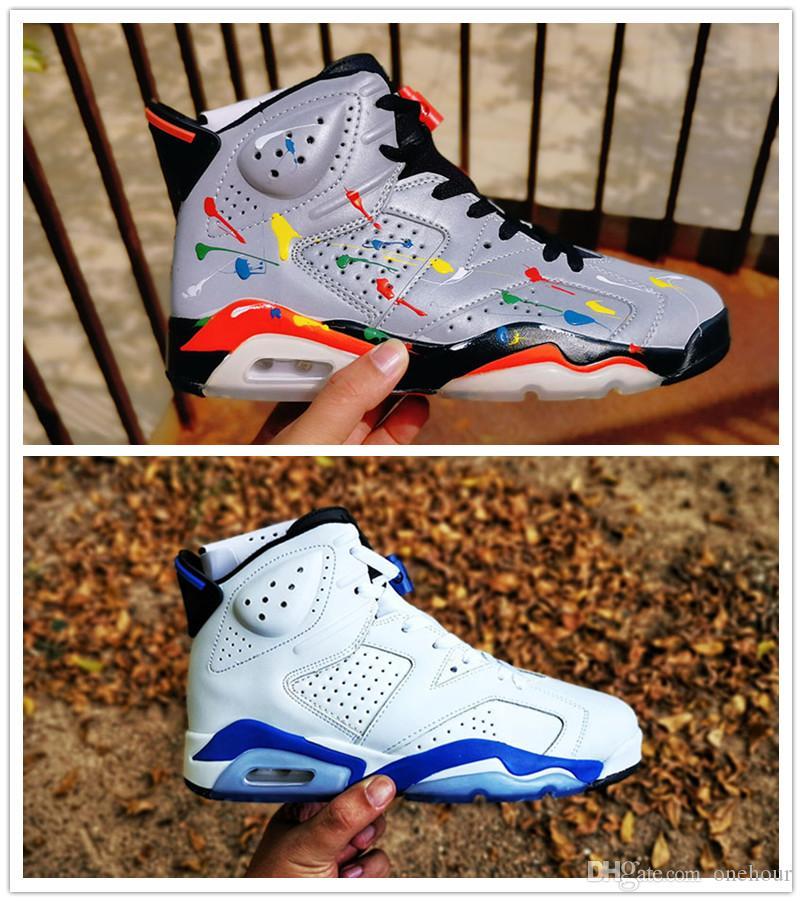 6 JSP riflettente argento a infrarossi nero grigio grigio colorato splash uomini da uomo scarpe da basket economiche 6s sport blu mens scarpe da ginnastica sportiva