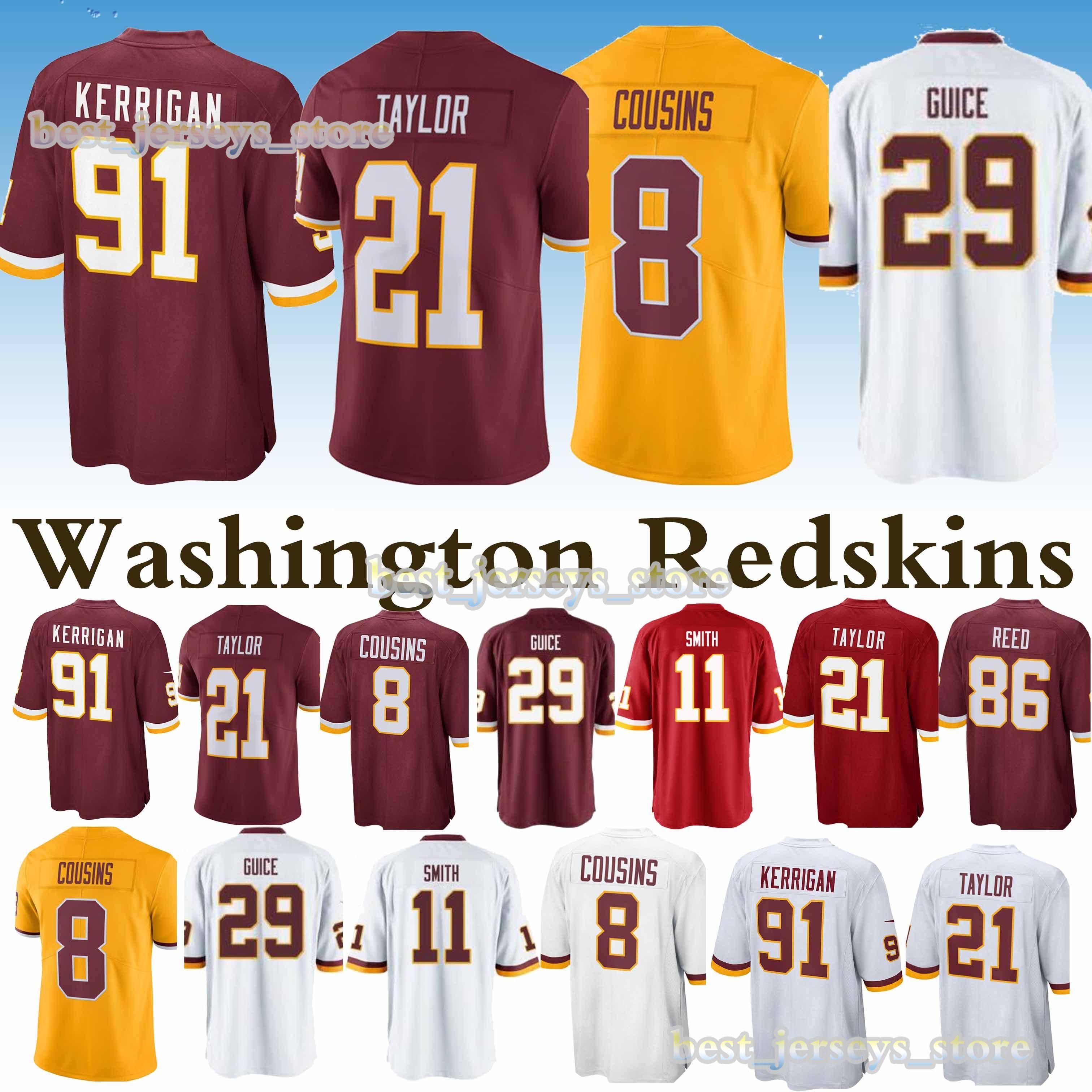official photos 61635 2a894 2019 91 Ryan Kerrigan 11 Alex Smith Washington Jerseys Redskins 21 Sean  Taylor 29 Derrius Guice 8 Kirk Cousins Jersey 2019 Design Sweater From ...