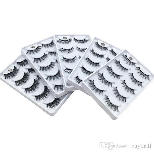 Hand-made False eyelashes natural look thick mink fur hair lashes full strip black eyelashes extensions DHL Free