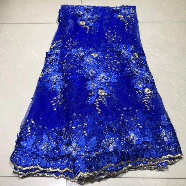 Vestido azul Alta Qualidade 2020 bordado 3D Tulle Francês Lace Pearls Tecidos Africano nigeriano Lace Fabric para o partido
