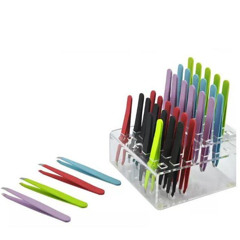 chaud 24 pièces en acier inoxydable Slanted colorés Astuce beauté Sourcils Brucelles Outils d'épilation Livraison gratuite