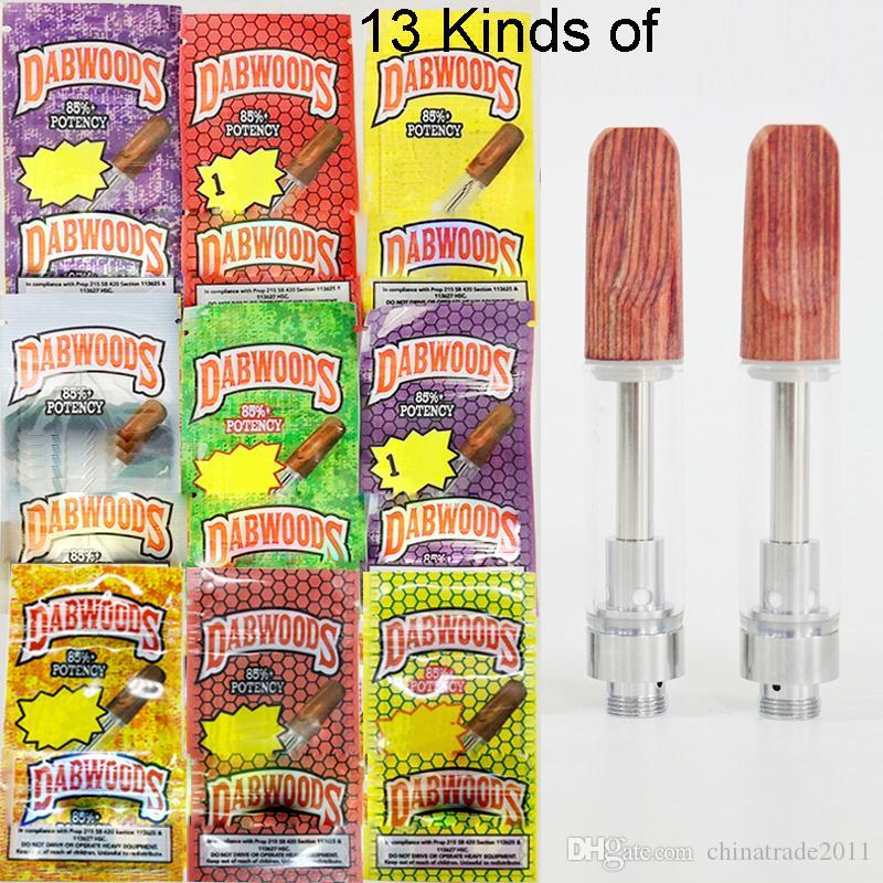 Dabwoods Carts Ahşap Ucu Boş Vape Kalemler Kartuşları 0.8 ml 1 ml Seramik Bobin Kalın Yağ Buharlaştırıcı E Sigara Atomizörler Çoklu Paketleme Çantası