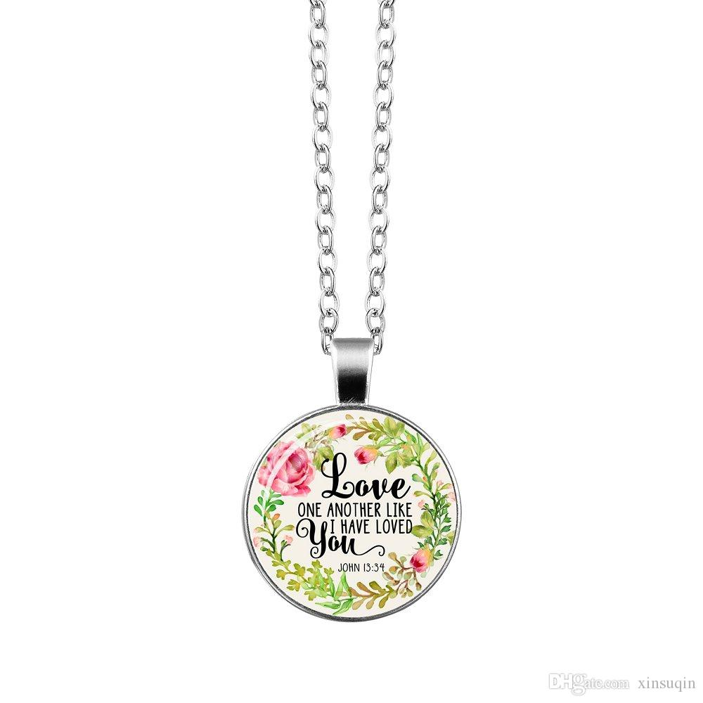 Vogue Silver Christian Bible Verse Necklace godliness Charms Bible Psalm Glass Flower Picture Pendant Women Celebrity Quotes Jewelry