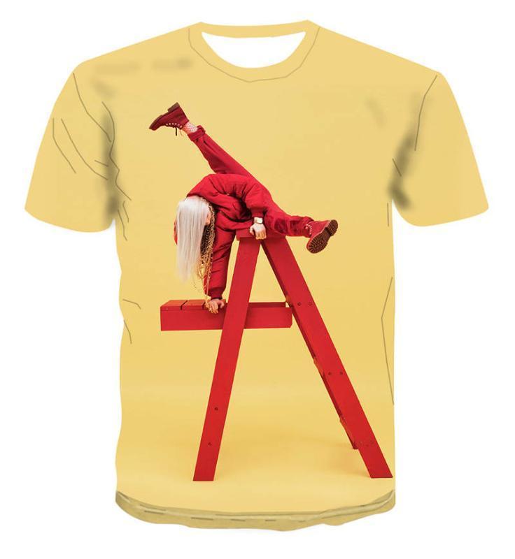 بلايز 3D طباعة البلوز بأكمام قصيرة بلايز المراهقين الصيف تيز ستريت ستايل ملابس بيلي Eilish الرجال
