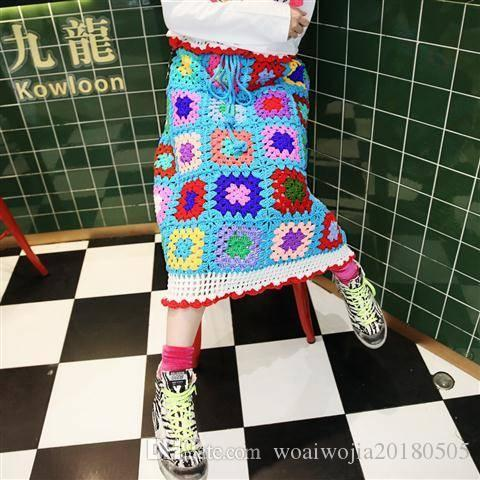 20190921 Hand-made coloured hollowed-out crocheted A-shaped half-length skirt