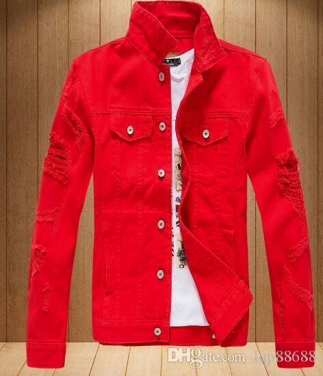 Primavera autunno nuovi abiti da uomo versione coreana buco giacca denim paio sciolto giacca di jeans a maniche lunghe indossati in denim Capispalla abbigliamento