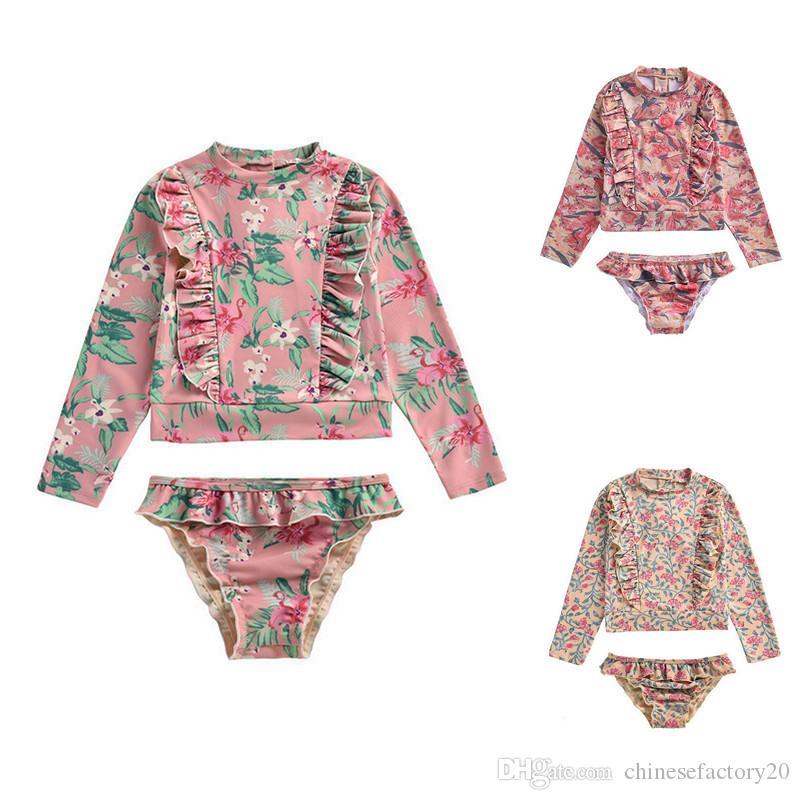 طفلة ملابس مجموعة 2 قطعة الأشعة فوق البنفسجية من الشمس حماية زهرة المطبوعة قميص + موجز السباحة ثوب السباحة 3 ألوان