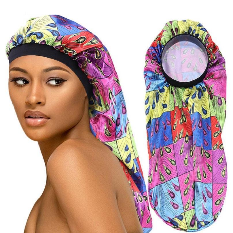 New African Ankara Langes Haar Frau Schlaf Cap hohe elastische Satin Schutz Haar Hut Männer und Mädchen Chemical Cap Kopfbedeckung Großhandel