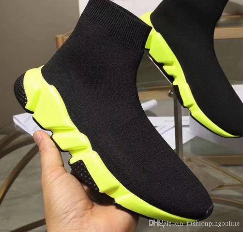 F909 2019 Designer Mens Shoes Mens And Women Online Celebrity Shoes Celebrity High Help Elastic Sock Shoes Size 35-45