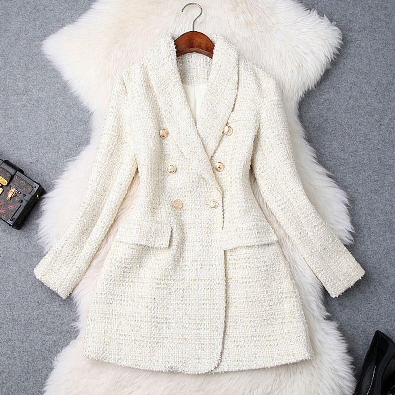 Pist 2019 Tasarımcı Blazer Kadın Çift Breasted Metal Düğme Uzun Kollu Çentikli Yaka Ceket Yün Karışımları Tweed Blazer Ceket