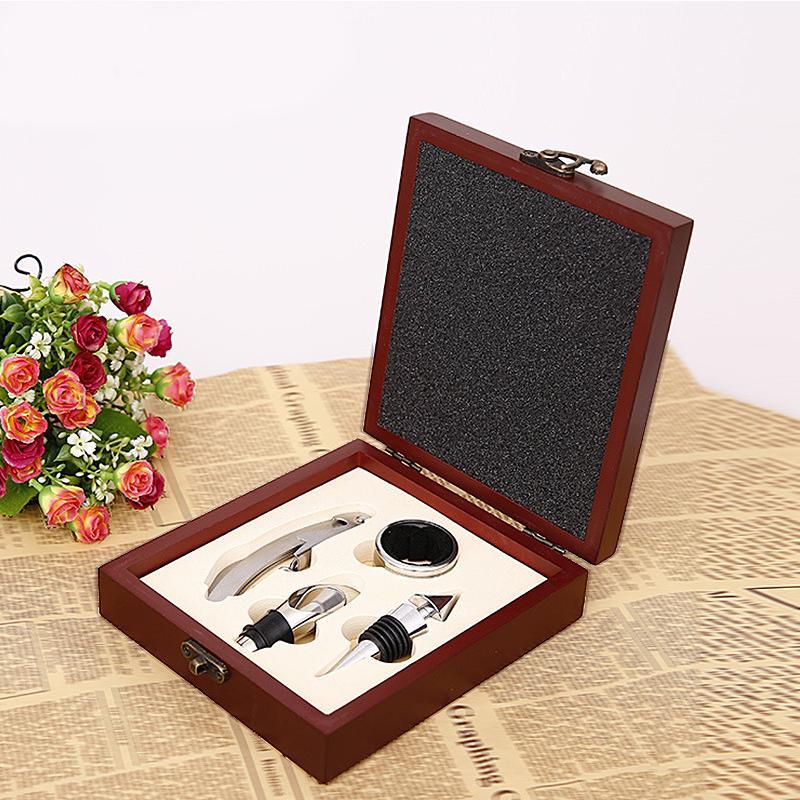 Bouteille de vin créatif ouvreur MDF boîte en bois Couteau en acier inoxydable Ornements décapsuleur bar Decortive mariage Décor boîte-cadeau
