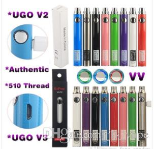 20pcsUGO-VII e pipe Battery 650/900mAh with usb Ego 510 thread battery EVOD UGO V II Micro USB Passthrough Charge E Cigarettes Batteries