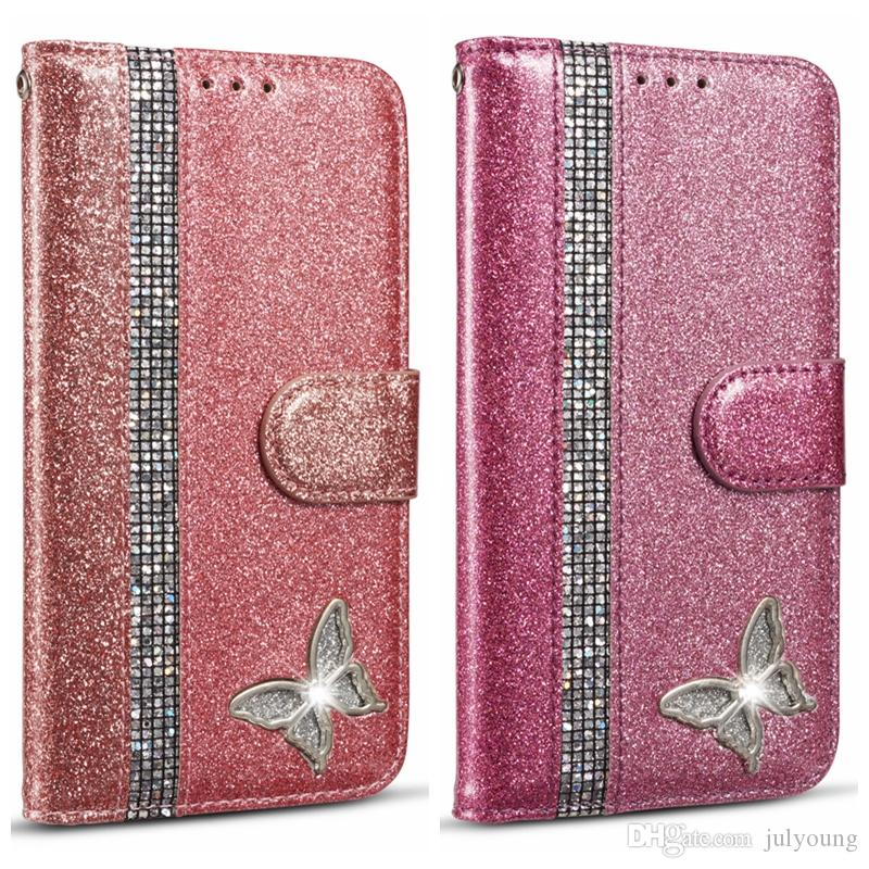 Diamond Sparkle Leather Wallet Case For Iphone 11 XS MAX XR X 8 7 Bling Glitter Sparkly Phone Flip Cover Holder Magnetic Butterfly Luxury