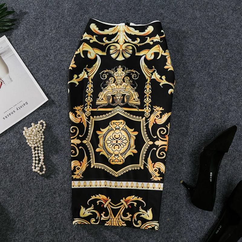 2019 New-Coming европейских женщин печати юбка-карандаш высокого Stretch абстрактный узор Midi скольжению Hip юбка Женский SH190906
