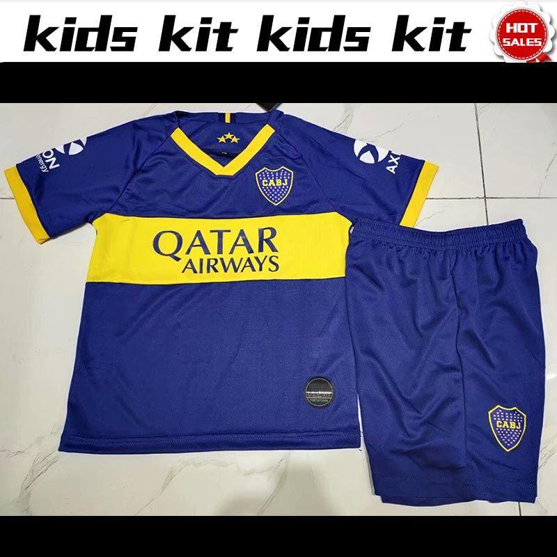 2020 Blue Home Football Kit Soccer Training Shirt Short Jersey Suit For Kids Boy