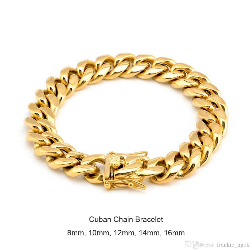 Men Women Stainless Steel Bracelet High Polished Miami Cuban Curb Chain Bracelets Double Safety Clasps Gold Steel 8mm/10mm/12mm/14mm/16mm