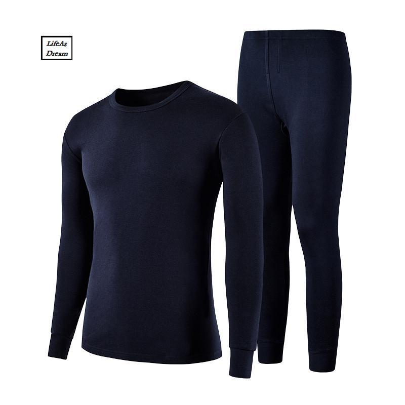 M-XXXL Winter Warm Men Long Johns100% cotton Men undershirt solid Long Johns sleeve underwear shirts Plus Size